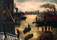 William Roberts-The Port of London c.1920-4
