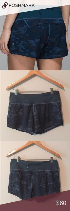 Lululemon blue camo run times shorts Lululemon blue camo run times shorts, perfect  condition with no flaws, size 6, rip tag attached, super cute! Bundle to save ❤️ lululemon athletica Shorts