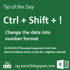 Raj Excel: Microsoft Excel Short Cut Keys: Ctrl + Shift + ! (...