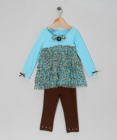 Take a look at this Blue Teal Leopard Tunic & Brown Leggings - Infant, Toddler & Girls by Young Hearts on #zulily today!