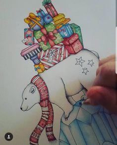"Gefällt 31 Mal, 1 Kommentare - @colourwithzozo auf Instagram: ""#johannabasford #johannabasfordchristmas #johannaschristmas #colouringpencils #polarbear #presents…"""