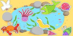 This resource features a variety of cut-out illustrations from the story of Sharing a Shell. Use them to retell the story, as an additional roleplay prop, to enhance your display board, and more! Sharing A Shell, Advent, Story Stones, Small World, Pre School, Sea Shells, Storytelling, Backdrops, Kids Rugs