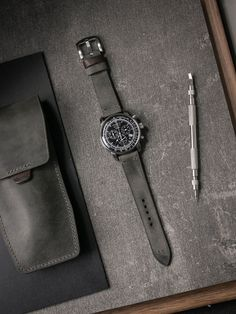 """Zeppelin looking like money in Bas and Lokes """"Worthington"""" leather watch strap and matching """"Kingsford"""" watch pouch. Watch Storage, Watches Photography, Product Photography, Green Leather, Natural Leather, Leather Craft, Watch Bands, Green And Grey, Leather Wallet"""