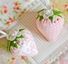 Strawberry pincushion by DownGrapevineLane on