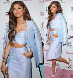 "Zendaya Coleman Brings the Beauty to ""BeautyCon"" in Baby Blue Bustier and Jimmy Choo Pumps"