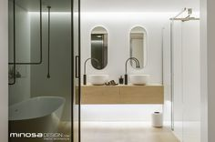 Amazing Contemporary Bathroom in Australia: Attractic Walsh Bay Home Bathroom By Minosa Design With Floating Vanity White Tub And Glass Shower Room Bad Inspiration, Bathroom Inspiration, Interior Minimalista, Glass Shower, Design Moderne, Bathroom Interior Design, Bathroom Designs, Kitchen Designs, Interior Decorating