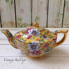 "8 Likes, 2 Comments - VintageandCups (@vintageandcups) on Instagram: ""Sadler chintz personal teapot in excellent condition."""