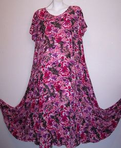 Woman Within Dress L Pink Floral Rayon Sundress Bust 48 inches #WomanWithin #SundressMaxiDress #Casual