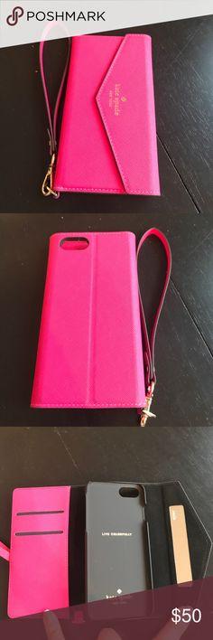 Kate Spade pink iPhone 7 envelope wristlet. Kate Spade pink iPhone 7 envelope wristlet. Gently used. kate spade Bags Clutches & Wristlets