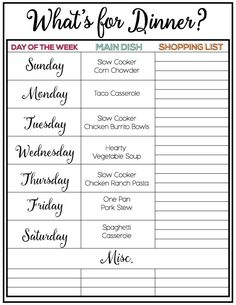 Weekly Meal Plan and Printable