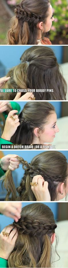 Braided Half Up Quick DIY Prom Hairstyles for Medium Hair Quick and Easy Homecoming Hairstyles for Long Hair click now for more info. Hairstyles For Medium Length Hair Tutorial, Medium Hair Braids, Prom Hair Medium, Medium Hair Styles, Short Hair Styles, Easy Homecoming Hairstyles, Prom Hair Updo, Braided Half Up, Boho Hairstyles