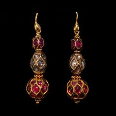 A Pair of Ruby and Diamond Earrings, Mysore South India Century Gold Jewelry Simple, Modern Jewelry, Trendy Jewelry, Ruby Jewelry, Jewelery, Silver Jewelry, Gold Jewellery, Silver Ring, Diamond Jewellery Indian