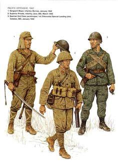 Esercito Imperiale Nipponico - 1 Sergente Maggiore, Fanteria, Borneo febbraio 1942 - 2 Soldato scelto, DEi, Java marzo 1942 - 3 Paracadutista di 2a classe dei Fanti di Marina,1st (Yokosuka) Unità Speciale da Sbarco, Celebes, DEI, gennaio 1942