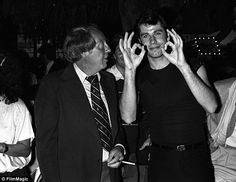 """Producer Robert Stigwood and John Travolta at the """"Grease"""" party at Paramount Studios in Los Angeles Grease Party, Dark Blood, Saturday Night Fever, Barry Gibb, John Travolta, Aretha Franklin, Eric Clapton, Second World, Eyes"""