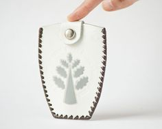 Tooled leather key wallet vintage leather tree design by SovietEra