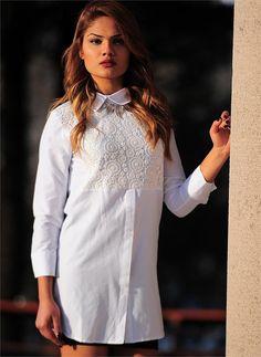 Bayan Gömlek Dantel Desen 2596 Beyaz | Modelleri ve Uygun Fiyat Avantajıyla | Modabenle