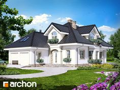 Dom w kokosach House Outside Design, House Front Design, Village House Design, Bungalow House Design, Beautiful House Plans, Modern House Plans, Classic House Design, Modern House Design, Modern Architecture House