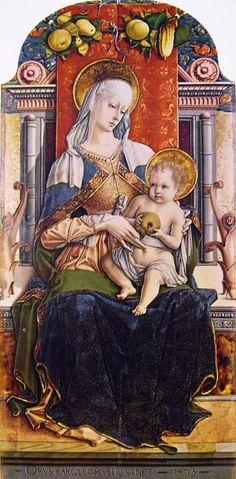 CARLO CRIVELLI (1435 – 1495)    Polittico di Sant'Emidio - Madonna col Bambino in trono (dettaglio).  Cattedrale di Sant'Emidio, Ascoli.