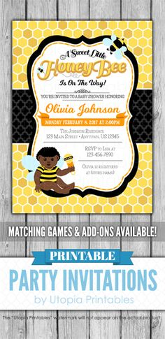 A printable bee themed African American afrocentric ethnic baby shower invitation with a honeycomb pattern and honey bees. Perfect for a boy or girl baby shower. Cute digital party invite template with a unique design to fit your shower idea, style or theme. This customized announcement card will be personalized with your custom text. Colors can be changed upon request. DIY file that you can download and print at home.