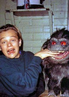 Leonardo DiCaprio on the set of Critters 3.