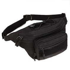 Waterproof Waist Bag Motorcycle Military Nylon Fabric Black Bumbag