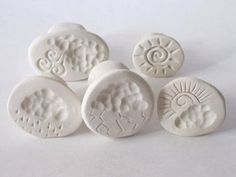 Clay Stamp Stormy Weather Set of 5 Clouds Rain Wind Lightning Sun Handmade Tools for Polyclay Pottery Ceramics Metal Clay Ceramic Tools, Ceramic Clay, Ceramic Pottery, Ceramic Texture, Clay Texture, Polymer Clay Tools, Clay Stamps, Biscuit, Pottery Tools