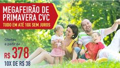 Mega feirão de pacotes cvc: Preços a partir de R$378