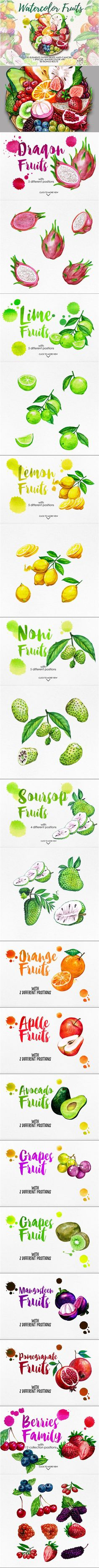 Watercolor Fruits Vol. 4 by iGRAPHOBIA on @creativemarket