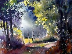 Jean Claude Papeix I Watercolor Watercolor Landscape Paintings, Watercolor Trees, Watercolor Artists, Watercolor Techniques, Landscape Art, Tableau Design, Tree Art, Beautiful Paintings, Painting Inspiration