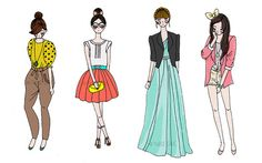 fashion illustration inspir style, fashion design, color sketch, fashion illustrations