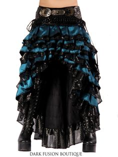 Ruffle Skirt, Black and Blue, Cabaret, Vaudeville, Steampunk, Vampire, Noir, Gothic, Witchy, Black Rock, Dance