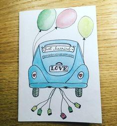 Hochzeitskarte Just Married, Creative, Instagram, Card Wedding, Watercolor