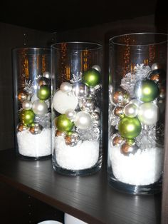 pinecones, ornaments and epsom salts... epsom salts decorating this year, and it works great!