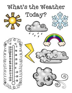*****FREE*****This bright and simple weather poster is a great visual for morning meeting or a science center! In my classroom, this poster is laminated and we use it on a daily basis. Laminating the poster provides durability, as well as allows the poster to function as a dry-erase board for easy marking and erasing. We simply circle any pictures that relate to our day's weather and color the thermometer to represent the current outdoor temperature.