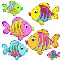 Окрашенный мультфильм ловит рыбу на белом фоне. Cartoon Sea Animals, Cartoon Fish, Baby Animal Drawings, Fish Drawings, Fish Drawing For Kids, Moldes Halloween, Fish Coloring Page, Crafts For Kids, Arts And Crafts