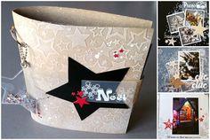 """Kit """"Noël"""" : Album en #FlexPlak, #Priplak imprimé, Carton microcannelé, Papier blanc nacré. Réalisé par Emilie pour Laura Pack Boutique. Fiche technique fournie."""