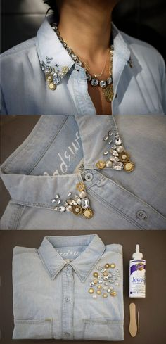 DIY Embellished Denim Shirt 2019 DIY Embellished Denim Shirt Tutorial The post DIY Embellished Denim Shirt 2019 appeared first on Denim Diy. Sewing Shirts, Sewing Clothes, Linen Shirts, Mode Outfits, Fashion Outfits, Fashion Trends, Fashion Ideas, Diy Fashion Projects, Diy Outfits