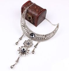 Vintage Look Necklace - Drop Dangle Flower Within a Crystal Pendant - Inlaid with Crystals