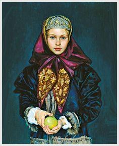 Девичий головной убор «Коруна»-Михаил Шаньков «Девочка в русском костюме» 1998