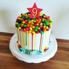 Skittles drip cake