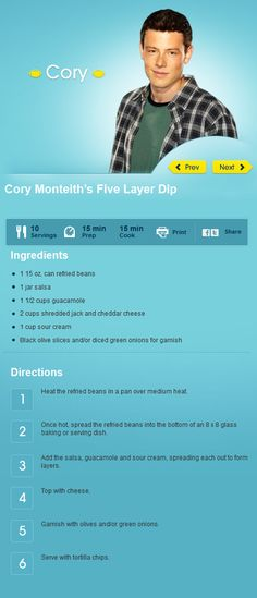 Cory Monteith's Five Layer Dip