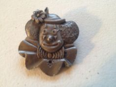 Vintage TORINO Pewter CLOWN Face Brooch Pin Nesting Box Pin/Lid Only Costume Jew #Torino