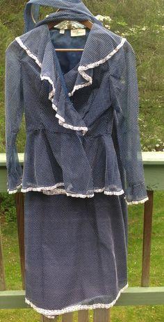 VTG 70s Lee Jordan Blue White Polka Dot Blouse Maxi Skirt