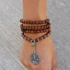 108 mala wood prayer beads and Lemon jade bead wrap yoga bracelet or necklace