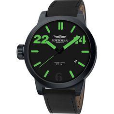 Haemmer 22.14 Caracas HQ-07, Haemmer Zwart XL horloge met datum voor heren