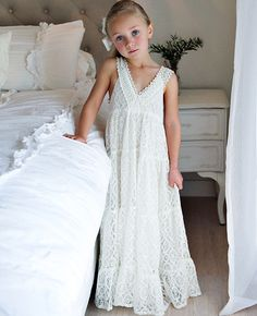 2015 girls maxi dresses empire beach/country wedding romantic lace maxi flower girl dresses at weddings girls boho dresses