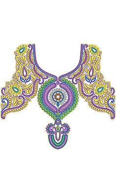 Pakistani Traditional Neck Embroidery Design