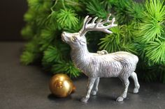 Vintage Silver Plastic Antlered Deer Ornament // Adorable by MyBarn on Etsy