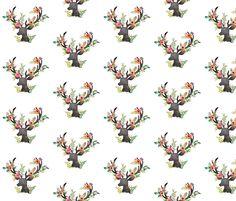 Floral Deer  fabric by shopcabin on Spoonflower - custom fabric