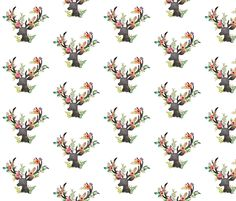 Floral Deer fabric o